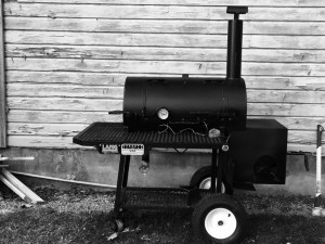 black and white Lang BBQ Smokers