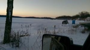 Driving onto Lake Oscar
