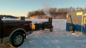 60 Lang BBQ smoker-Deluxe setup on ice TEMP is 5 degrees Fahrenheit